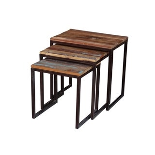 Timbergirl Iron/ Reclaimed Wood 3-piece Nesting Table Set (India)