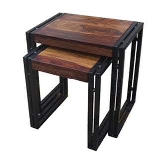 Timbergirl Seesham Wood/ Blackened Iron 2-piece Nesting Table Set (India)