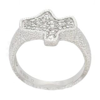 De Buman Pave White Topaz Sterling Silver Ring