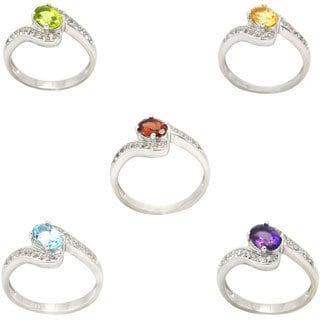 De Buman Genuine Garnet, Peridot, Citrine, Amethyst or Sky Blue Topaz Gemstone Bypass Sterling Silver Ring