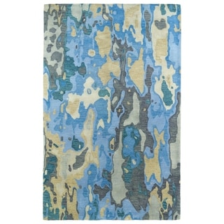 Hand-tufted Artworks Blue Watercolor Rug (3'6 x 5'6)