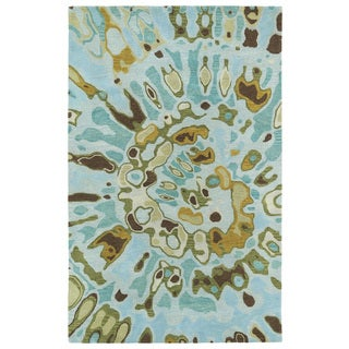 Hand-tufted Artworks Teal Tie-dye Rug (9'6 x 13')