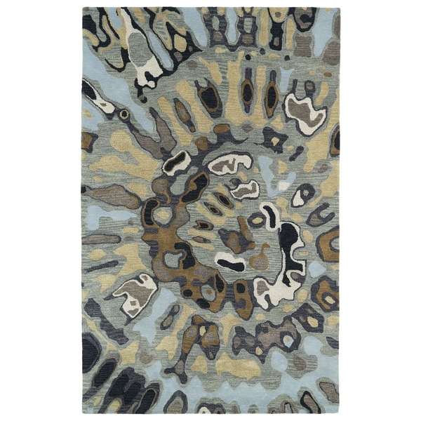 Hand-tufted Artworks Pewter Green Tie-dye Rug - 9'6 x 13'