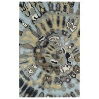 Hand-tufted Artworks Pewter Green Tie-dye Rug - 5' x 7'9
