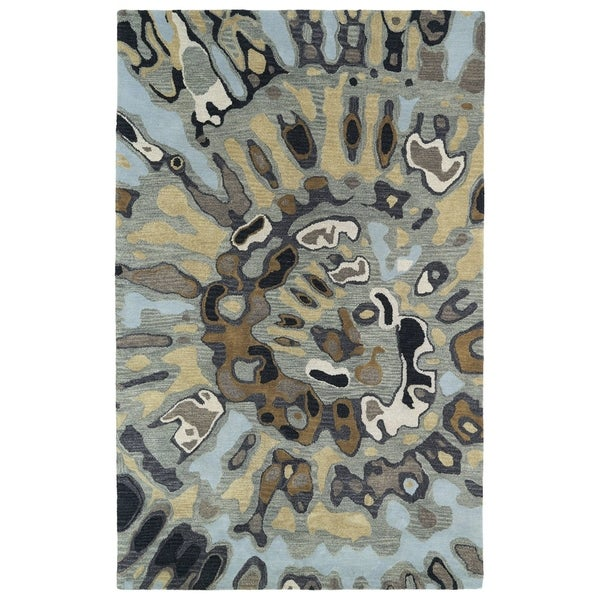 Hand-tufted Artworks Pewter Green Tie-dye Rug (8' x 11')