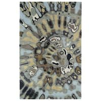 Hand-tufted Artworks Pewter Green Tie-dye Rug (3'6 x 5'6)