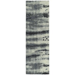 "Hand-tufted Artworks Grey Tie-dye Rug - 2'6"" x 8'"