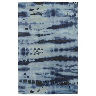 Hand-tufted Artworks Denim Tie-dye Rug (3'6 x 5'6)