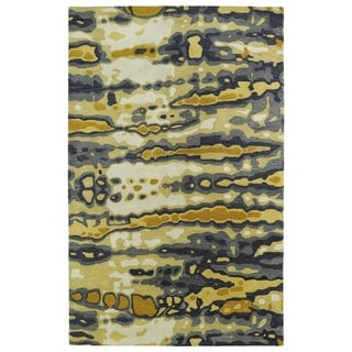Linon Trio Collection Chevron Grey Yellow Area Rug 8 X