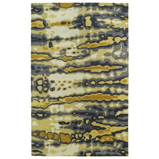 Hand-tufted Artworks Yellow Tie-dye Rug (2' x 3')