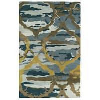 Hand-tufted Artworks Blue Tie-dye Rug (9'6 x 13') - 9'6 x 13'