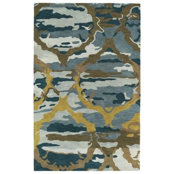 Hand-tufted Artworks Blue Tie-dye Rug (8' x 11') - 8' x 11'