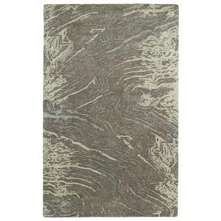 Hand-tufted Artworks Brown Waves Rug (3'6 x 5'6)