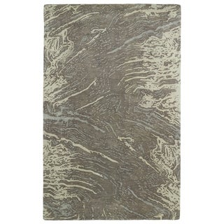 Hand-tufted Artworks Brown Waves Rug (8' x 11')
