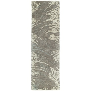 Hand-tufted Artworks Brown Waves Rug (2'6 x 8')