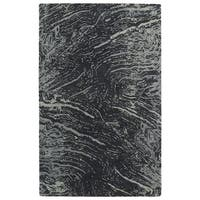 Hand-tufted Artworks Charcoal Waves Rug (8' x 11')