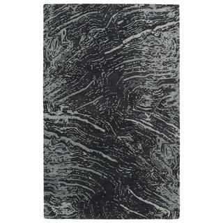 Hand-Tufted Artworks Charcoal Waves Rug (3'6 x 5'6)