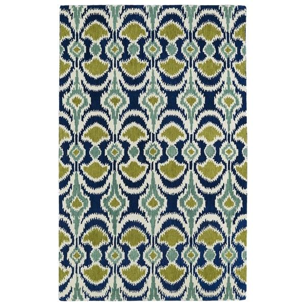 Hand-tufted de Leon Ikat Navy Wool Area Rug (8' x 10')