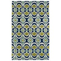 Hand-tufted de Leon Ikat Navy Wool Area Rug - 8' x 10'