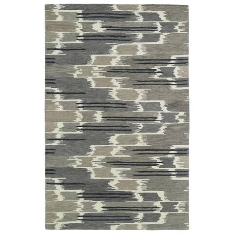 Hand-tufted de Leon Ikat Grey Rug (8' x 10') - 8' x 10'