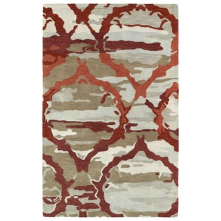 Hand-tufted Artworks Red Tie-dye Rug (9'6 x 13')