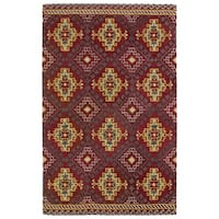 Hand-tufted de Leon Tribal Red Rug - 8' x 10'