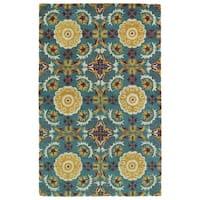 Hand-tufted de Leon Turquoise Wool Rug - 5' x 7'9