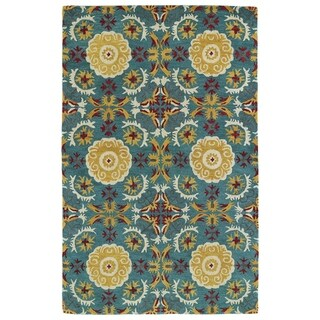 "Hand-tufted de Leon Turquoise Wool Area Rug (3'6 x 5'6) - 3'6"" x 5'6"""