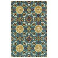 Hand-tufted de Leon Turquoise Wool Area Rug (3'6 x 5'6)
