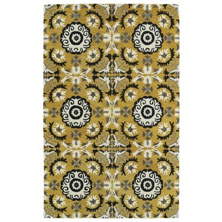 Hand-tufted de Leon Yellow Rug (3'6 x 5'6)
