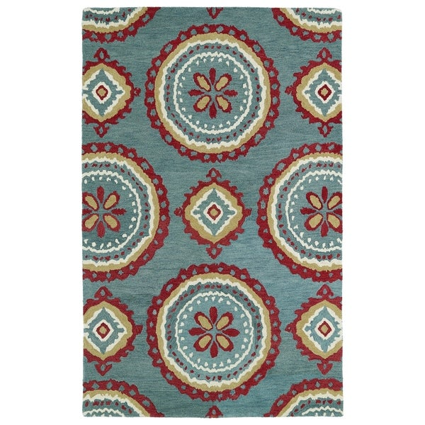 Shop Hand-tufted De Leon Turquoise Rug