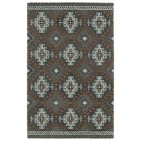 Hand-tufted de Leon Tribal Grey Rug (9' x 12') - 9' x 12'