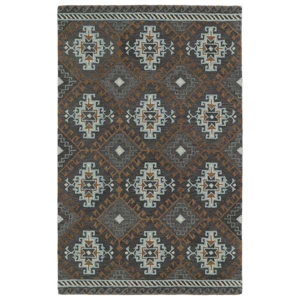 Hand-tufted de Leon Tribal Grey Rug - 8' x 10'