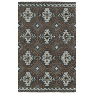 Hand-tufted de Leon Tribal Grey Rug (3'6 x 5'6)