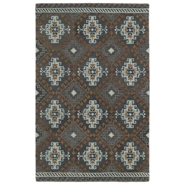 Hand-tufted de Leon Tribal Grey Rug (5' x 7'9)