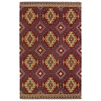 Hand-tufted de Leon Tribal Red Rug (9' x 12') - 9' x 12'