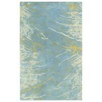 Hand-tufted Artworks Blue Waves Rug (5' x 7'9)
