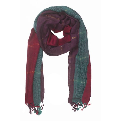 Handmade In-Sattva Colors Vertical and Horizontal Stripe Colorblock Scarf (India)