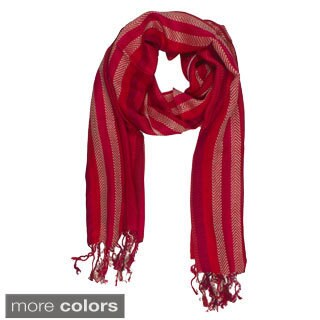 Handmade In-Sattva Colors Vertical Stripe Scarf Stole Wrap (India)