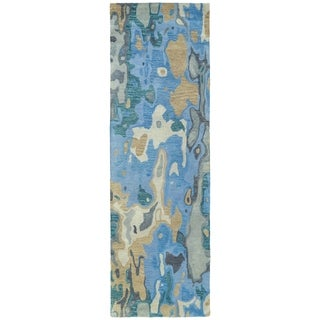 Hand-tufted Artworks Blue Watercolor Rug (2'6 x 8')