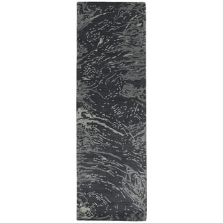 Hand-tufted Artworks Charcoal Waves Rug (2'6 x 8')