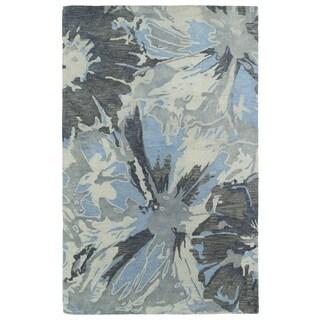 Hand-tufted Artworks Grey Floral Rug (8' x 11')