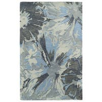 Hand-tufted Artworks Grey Floral Rug (9'6 x 13')