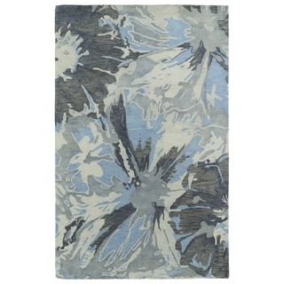 "Hand-tufted Artworks Grey Floral Rug (3'6 x 5'6) - 3'6"" x 5'6"""