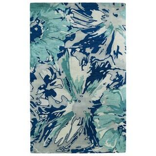Hand-tufted Artworks Blue Floral Rug (9'6 x 13')