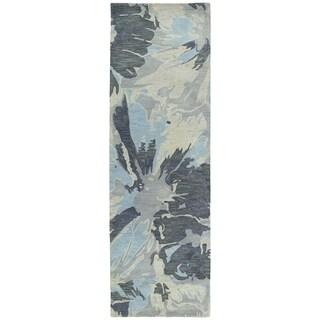 Hand-tufted Artworks Grey Floral Rug (2'6 x 8')