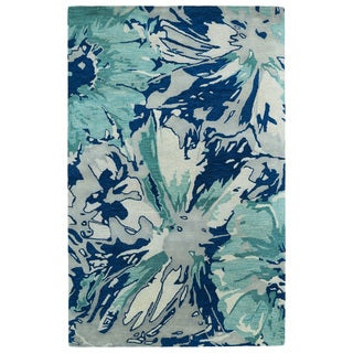 Hand-tufted Artworks Blue Floral Rug (3'6 x 5'6)