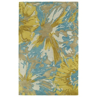 Hand-tufted Artworks Gold Floral Rug (9'6 x 13')