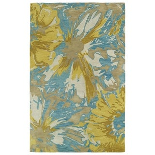 Hand-tufted Artworks Gold Floral Rug (8' x 11')