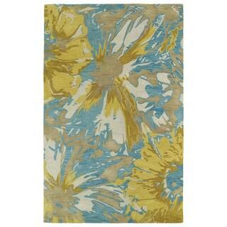 Hand-tufted Artworks Gold Floral Rug (3'6 x 5'6)